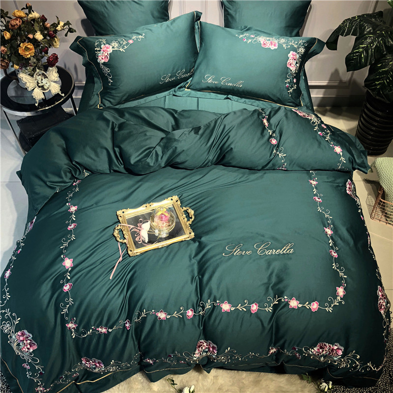 Queen ชุดเครื่องนอนหรูสีเขียวอียิปต์ผ้าคลุมเตียงผ้าฝ้าย/แผ่นติดตั้งปลอกหมอน gropa de cama/ linge de lit-ใน ชุดเครื่องนอน จาก บ้านและสวน บน   1