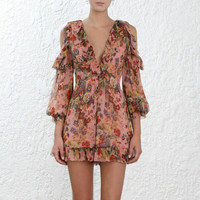 Backless Floral Silk Romper Playsuit Ruffle Long Sleeve Deep V Neck Tie Back Spring Summer Sexy Short Jumpsuit For Ladies