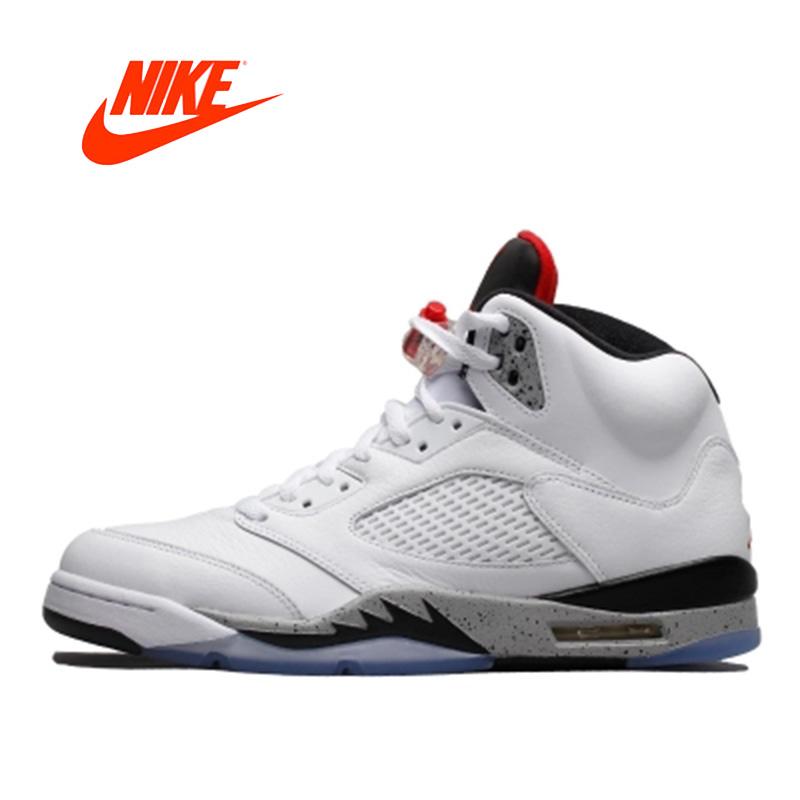 Nike Air Jordan Originais oficial 5 Branco AJ5 Cimento tênis de ... 22f3b4b27996e