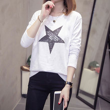 цена на 5 Colors Long Sleeve T Shirt Autumn Harajuku Vintage Chic Letter Star Printed Tshirt Femme All-match Black White T Shirt Women