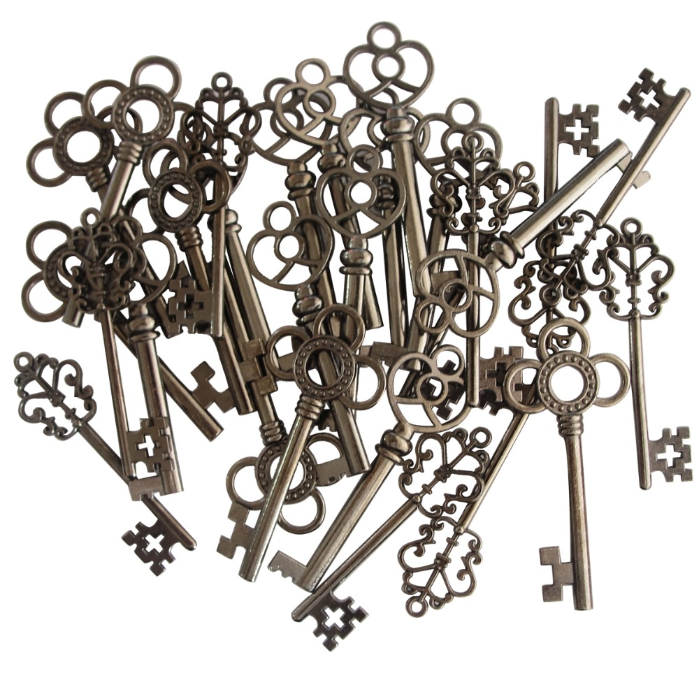 Mixed 30pieces Vintage Old Look Skeleton Keys Fancy Heart Bow Necklace Pendants