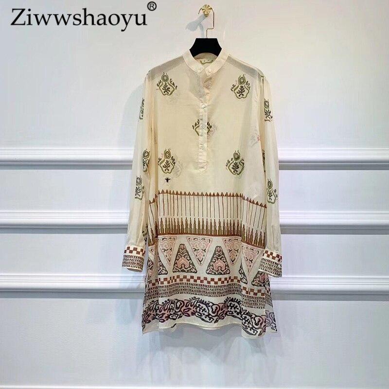 Ziwwshaoyu Vintage 100% coton imprimé chemises o-cou broderie tempérament Slim chemise nouvelles femmes