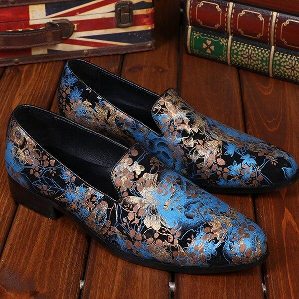 Transporte Sapatas Dos Pintado Azul Do Blue Vestido Deslizamento Moda Gota Floral Da Real Loafers Couro Marca red Homens Chinelo Ons Designer Masculina De Vermelho Fumar 8nRZ0f