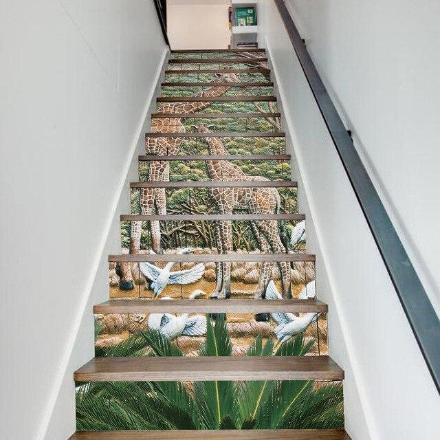 Charming 13 Teile/los Kreative DIY 3D Stairway Aufkleber Giraffe Keramikfliesen  Muster Für Haus Treppen Dekoration