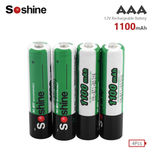 Soshine 4Pcs 1.2v AAA 3A NIMH 1100mah Battery Rechargeable aaa Batteria ni-mh batteries UM4 E92 R03 24A battery rechargeable