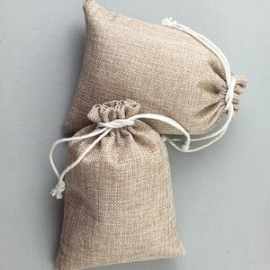 Image 5 - 60pcs Jute Bags Natural Burlap Hessia Gift Bags Wedding Party Favor Pouch Drawstring Jute Gift Bag Packaging Bag Storage Travel
