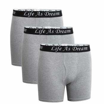 3Pcs/Lot men\'s boxer underwear pants cotton men solid boxer shorts loose calecon pour homme mens underwear boxers long leg