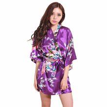 a236bb813d8a Merek Ungu Wanita Dicetak Bunga Kimono Gaun Gaun Cina Gaya Sutra Satin Gaun  Tidur Bunga S M L