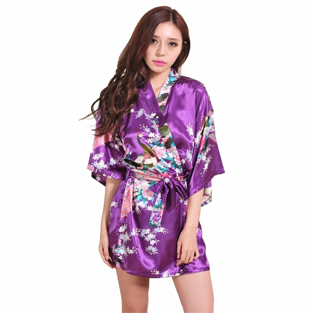 Brand Purple Female Printed Floral Kimono Dress Gown Chinese Style Silk Satin  Robe Nightgown Flower S M L 23cc8fc83