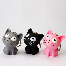 Best Selling Novelty Lovely Toys 1pcs Kawaii Cartoon Cat Design Led Keychain With Sound Flashlight Kid Pig Keyring Kids Gifts(China)