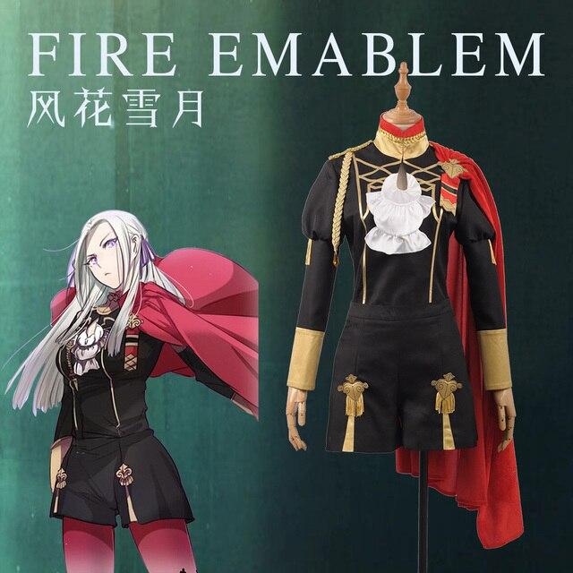 Emblema de fuego: disfraz de batalla de tres casas para niñas, traje de Cosplay para mujeres adultas, Top corto, capa, Halloween