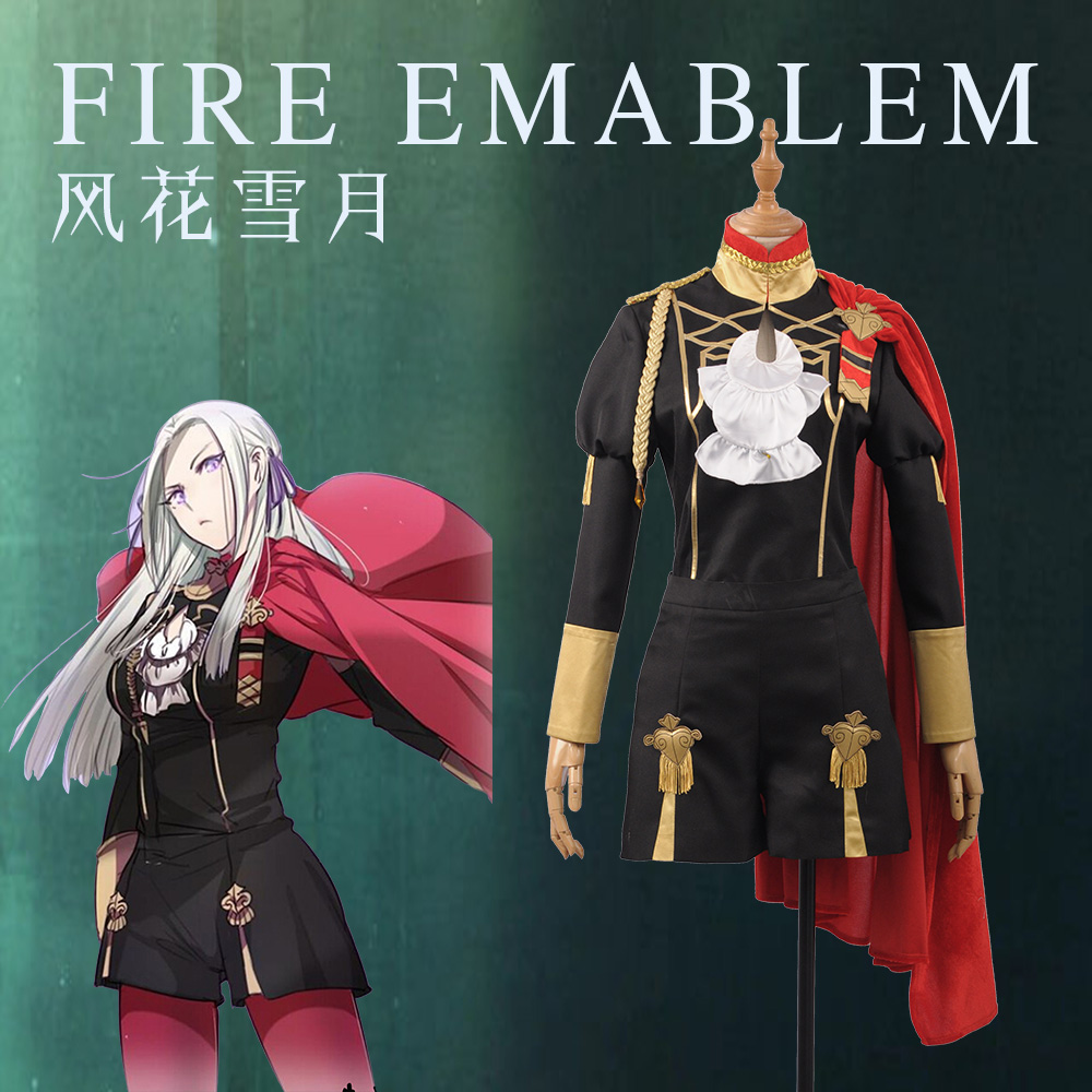 Fire Emblem: Three Houses Edelgard Fancy Battle Stage Girls Cosplay Costume Adult Outfit Top+Shorts+Cloak+Leggings In Stock S-XL