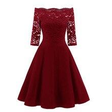 Afrodite Em Casa Mulheres de Outono Vestido de Renda Fora Do Ombro Vestidos de Balanço Do Vintage Elegante Sólidos Midi Vestido de Festa Vermelho Vestidos Mujer