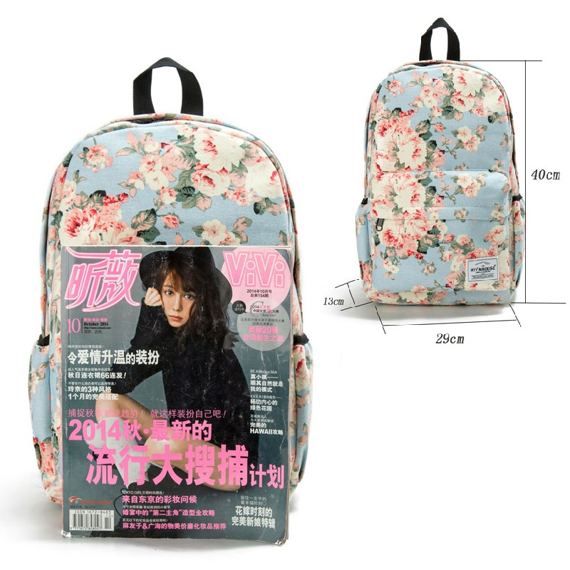 fe75179c03 Miyahouse Fresh Style Women Backpacks Floral Print Bookbags Canvas Backpack  School Bag For Girls Rucksack Female Travel Backpack-in Backpacks from  Luggage ...