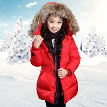 Girls Down Jacket for Girl Warm Hot 2016 New Winter Fashion Down Cotton Fur Hooded Coat Children Red and Black Outerwear 1173