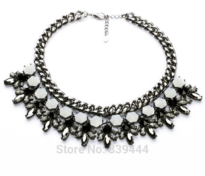 New Arrival Accessories Vintage Shiny Round Little Acrylic Stone Women Choker Hematite Color Necklaces