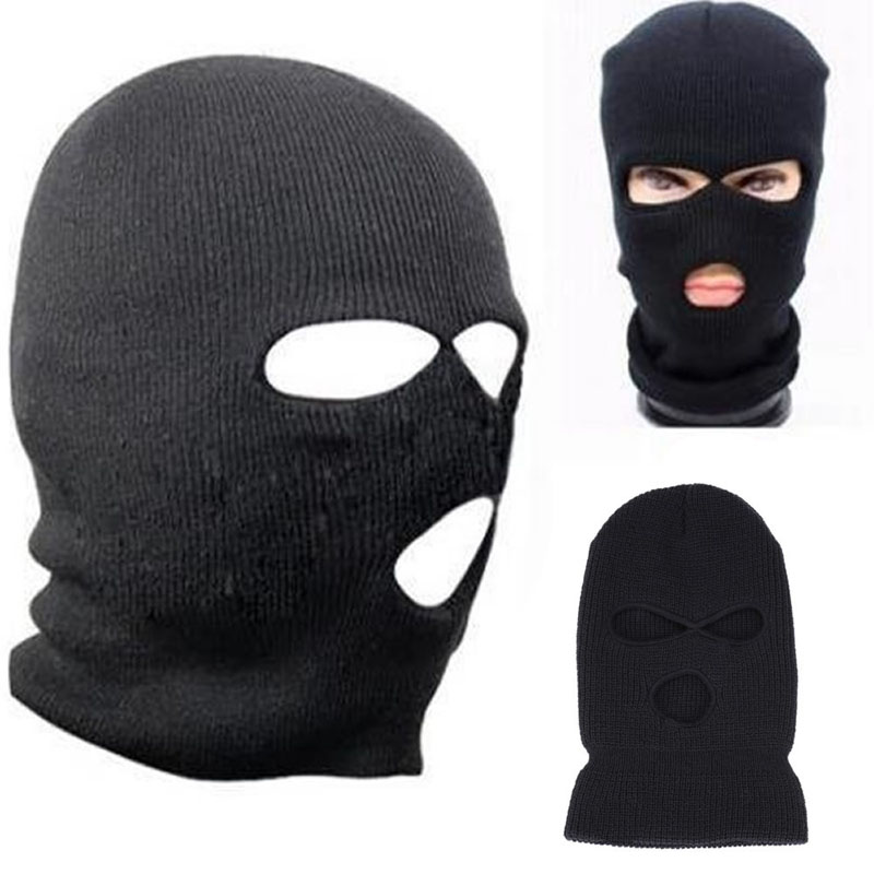 3 Hole Ski Mask Balaclava Black Knit Hat Face Shield Beanie Cap Snow ...