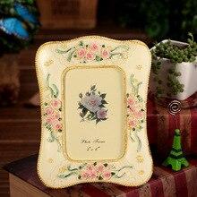 Clássico Flor Rosa Estilo Europeu resina Photo frame Picture Frame para a Decoração Da Casa Do Vintage retro