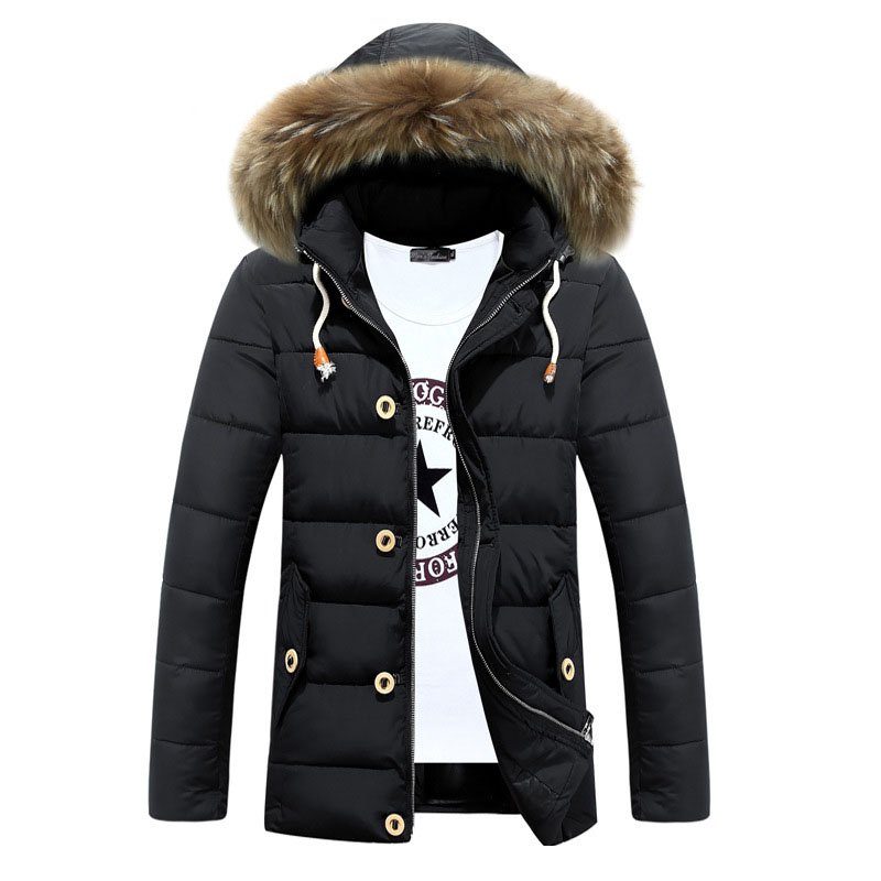 Mens Snow Jacket Winter Thick Warm Cotton Padded Coat Hooded Faux Fur Slim Fit Mid Long Parkas Men Quilted Jackets Male Big Size