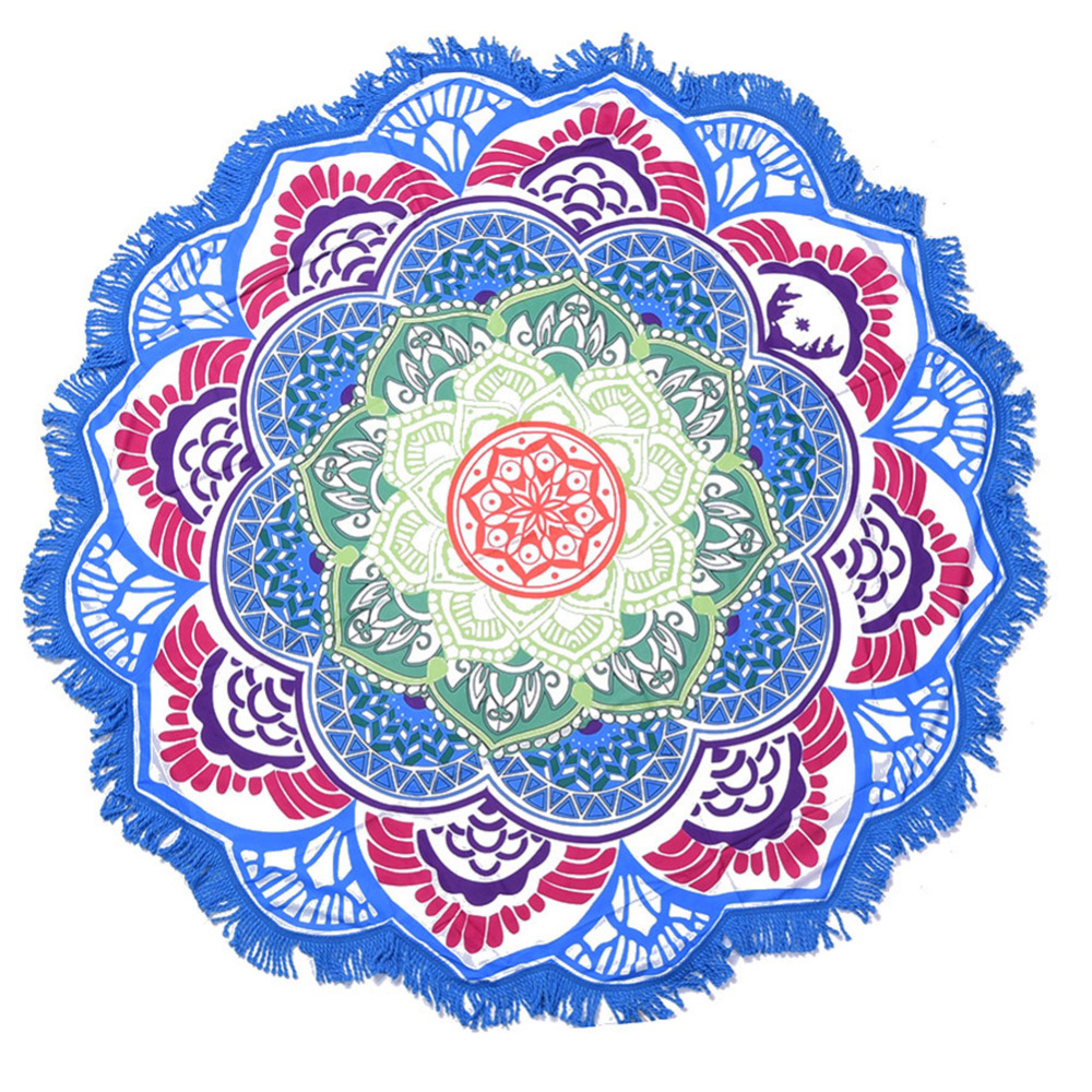 7 Colors Mandala Beach Towel High Quality POlyester Used As Beach mat /Table Cloth/ Yoga Mat Big Size Dia. 150cm Drop Shipping