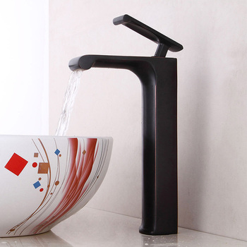 Basin Faucets Waterfall Bathroom Faucet Single handle Basin Mixer Tap Bath Black Bronze Faucet Brass Sink Water Crane Silver