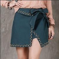 High Quality Cotton Women Skirt Women S Fake 2 Piece Rivet Vintage Short Girl S Skirt