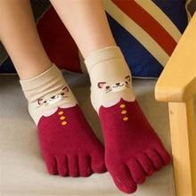 1 Pair Women Girls Soft Cartoon Cat Socks Five Finger Toes Cotton Autumn Winter