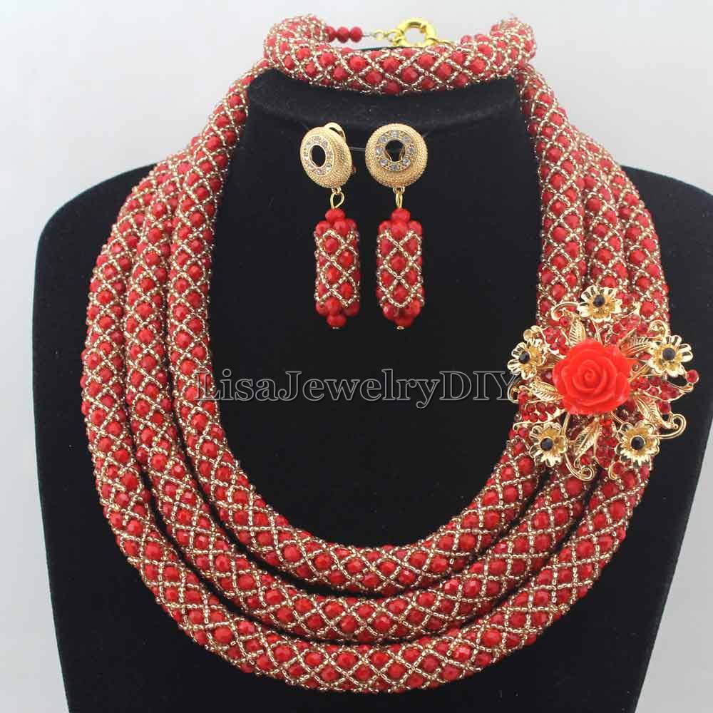 2019 New Red/Champagne African Beads Jewelry Sets Nigerian Wedding Jewelry Sets Full Beads Indian Bridal Jewelry Sets HD76222019 New Red/Champagne African Beads Jewelry Sets Nigerian Wedding Jewelry Sets Full Beads Indian Bridal Jewelry Sets HD7622
