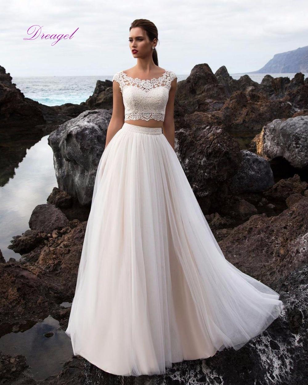 2 piece beach wedding dresses : New arrival scoop neck appliques two piece beach wedding dresses