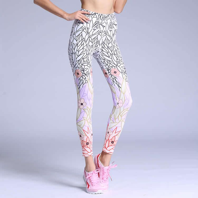 7c62f7f366 Yoga Leggings Women's White Printed Yoga Pants Fitness Running Tights Womens  Breathable Quick Dry Gym Jogging Sport Leggings