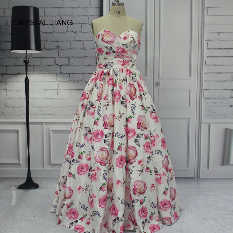 CRYSTAL JIANG 2018 Vestido longo Sweetheart Floral Printed Custom made Plus Size Ball Gown Dress Elegant Long Real Photo