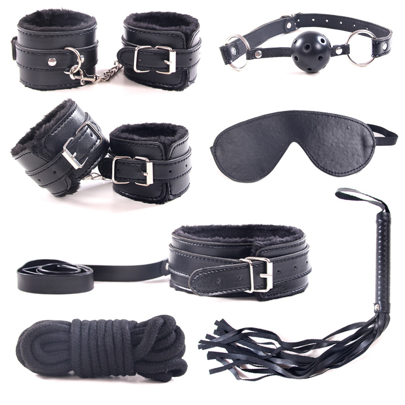 Porno Sexy 7 Pcs / Set  Leather Whip Bondage Adult Sex Supplies Handcuffs Footcuff Mask Rope Gag SM Sexy Erotic Toy 4 Colors