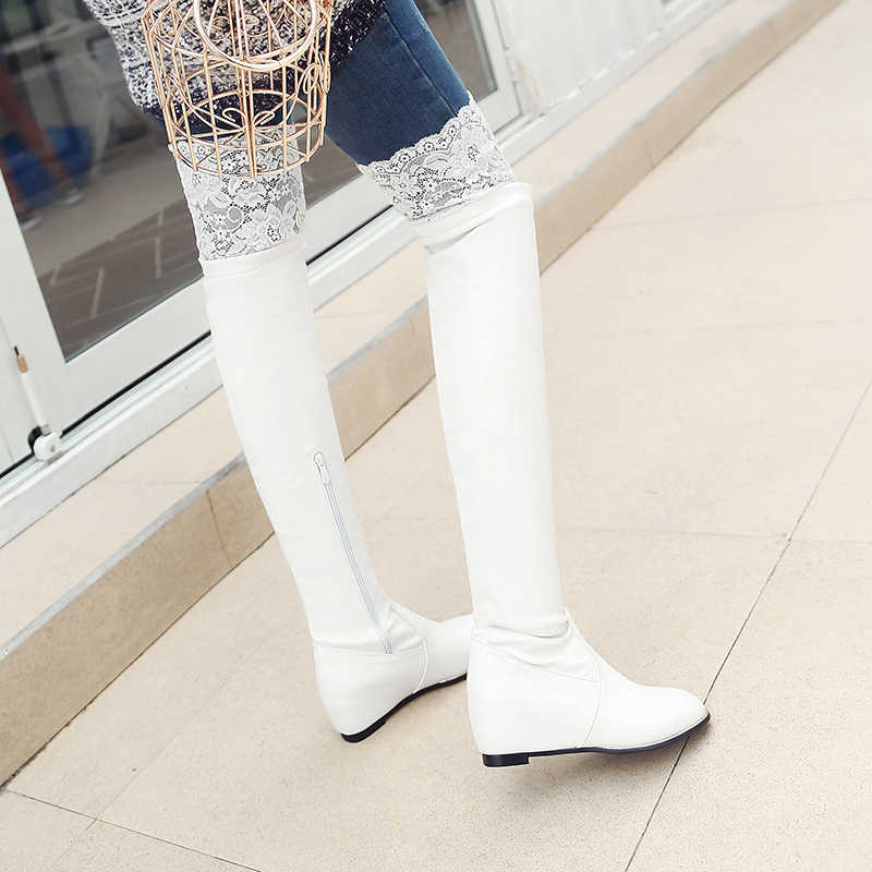 63e1dc34b8d Sungtin Autumn Winter Pu Leather Women Sexy Lace Over The Knee Boots  Classic Black White Plus Size Flat Thigh High Long Boots