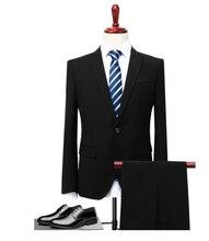 (Giacca + Pantaloni Maglia) 3 Pezzi Vestito Da Uomo Slim Fit Usura Business Men Formal Abito Nero  Costume Sposa married suit