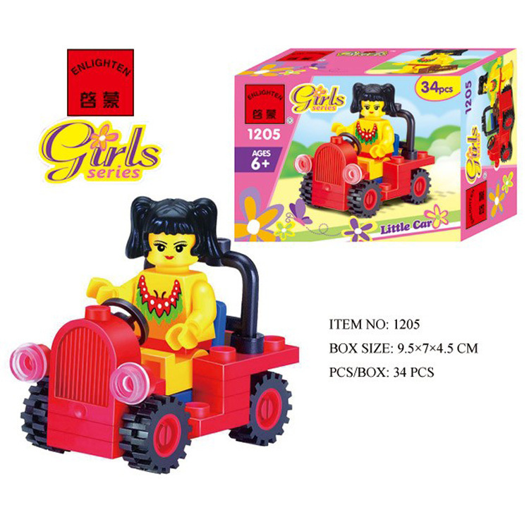Enlighten Models Building Toy Compatible With E1205 34pcs Tour Car Blocks Toys Hobbies For Boys Girls Model Building Kits