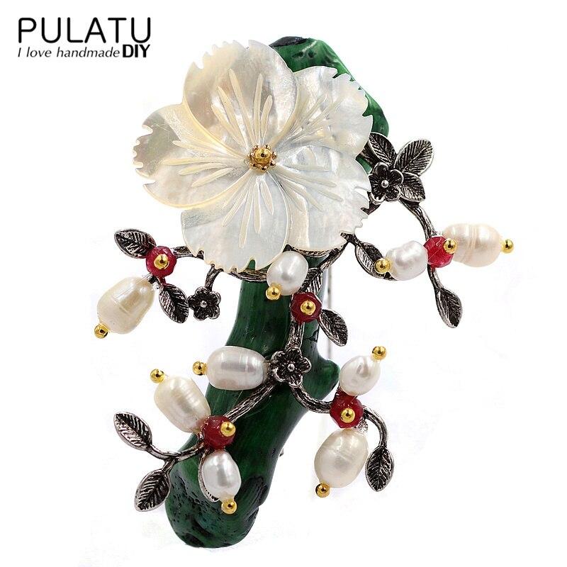 PULATU Original Handmade Life Tree Brooches for Women Natural Stone Fashion Jewelry Accessories Pendant DIY Making Brooch Pins все цены