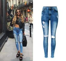 Jeans woman Of 2017 New bottom tassel  fringe Female Pencil Pants High Waist Hole Ripped Women Jeans Femme Ladies Stretch Pants