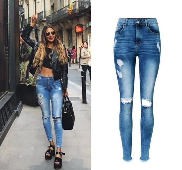 f0593ea3e6f Jeans woman Of 2017 New bottom tassel fringe Female Pencil Pants High Waist  Hole Ripped Women Jeans Femme Ladies Stretch Pants