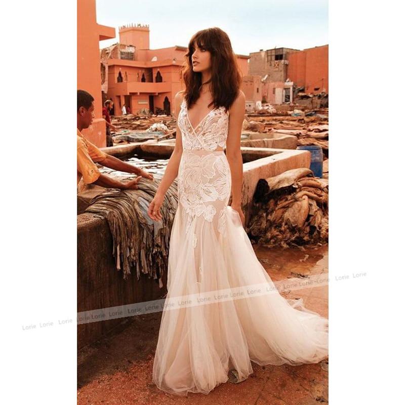 LORIE Mermaid Wedding Dress V Neck Appliqued Sexy Backless Lace Bride Dress Princess Boho Wedding Gown Floor Length