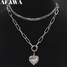 2019 Fashion Stainless Steel Punk Heart Cross Necklace Women Silver Color Layered Necklaces Pendants Jewelry gargantilla N19174 цена