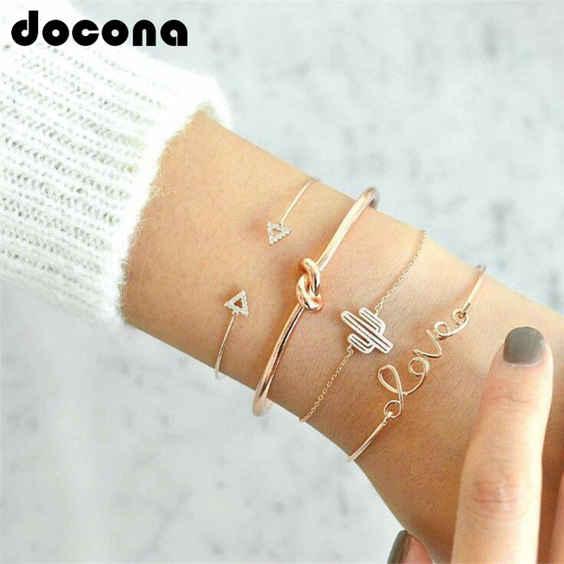 4fc7dfef5 Cheap Charm Bracelets, Buy Directly from China Suppliers:docona 4pcs/1set  Gold Color