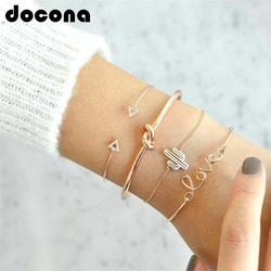docona 4pcs/1set Gold Color Cactus Letter Knot Bracelet Bohemian Geometric Metal Chain Bracelet Statement Jewelry 6116