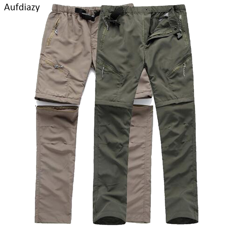 Mens Quick Dry Pants Detachable Fishing Hiking Outdoor Sports Trousers Oversize