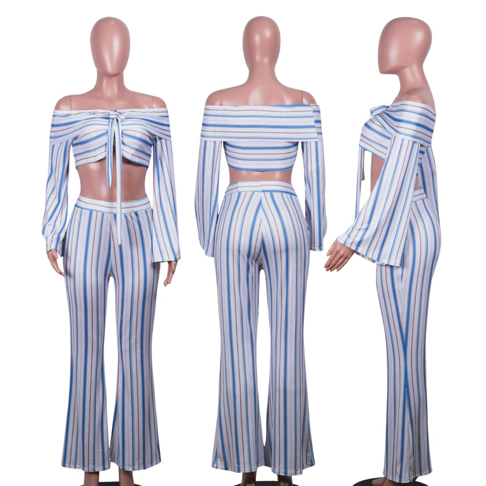 Sexy v neck off shoulder Bandage striped 2 piece set women summer casual fashion two piece set top and pants outfits suit (12)
