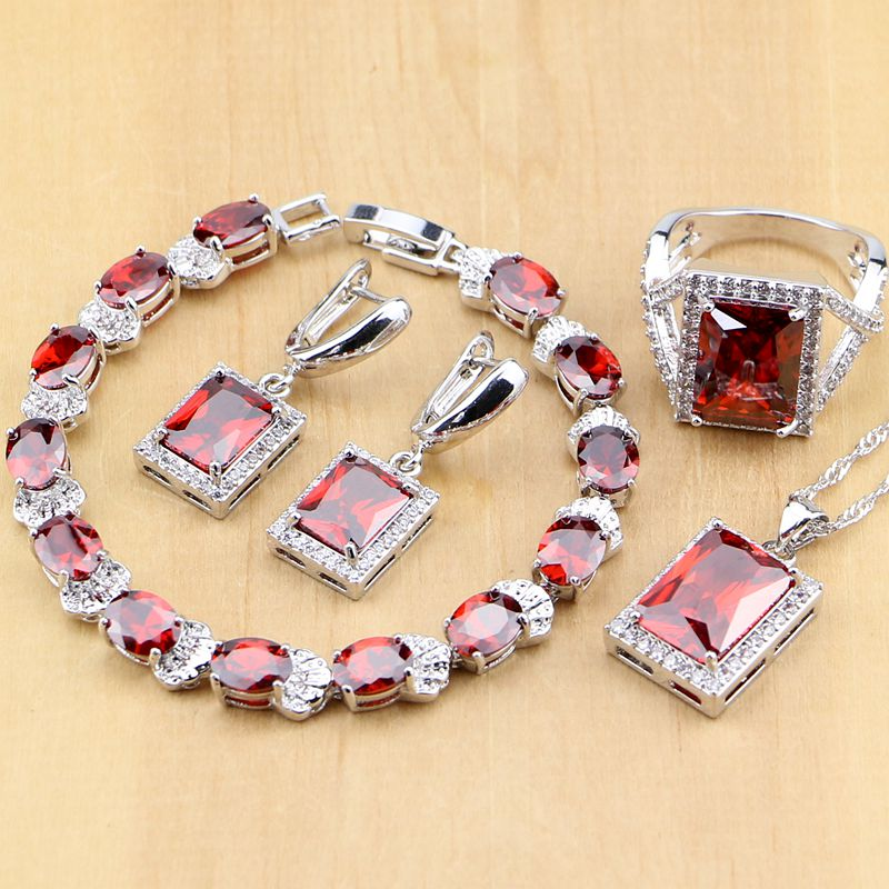 Red Zircon White CZ Sterling Silver Šperky sady pro ženy Svatební náušnice / Přívěsek / Náhrdelník / Prsteny / Náramek T122