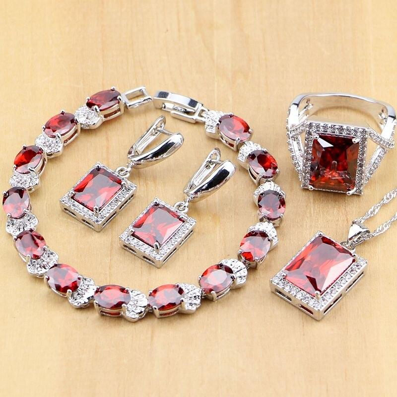 Brautschmuck Sets Intellektuell Rot Zirkon Weiß Cz Sterling Silber Schmuck Sets Für Frauen Hochzeit Ohrringe/anhänger/halskette/ringe/armband T122 Schmuck & Zubehör
