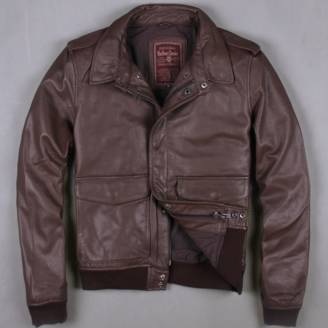 2017 New Men Brown A2 Leather Pilot Jacket Genuine Thick Cowhide Slim Fit Plus Size XXXL Men Winter Aviator Coat FREE SHIPPING