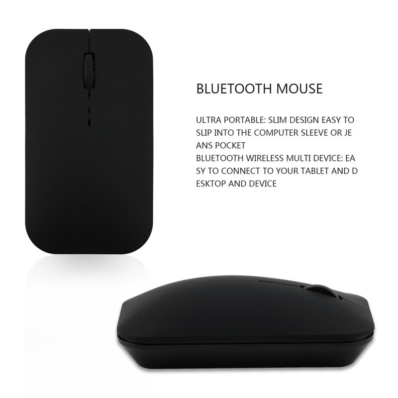 Rechargeable Wireless Mouse Ultra Thin Bluetooth 3.0 Wireless Rechargeable Mouse Slim Mouse Cable for Computer Laptop black