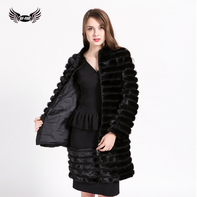 98f5cbc0d05 BFFUR Natural Furs Women Fur Coats Fashion Long Genuine Coat Mink Fur Coat  Real Mink Fur Coat Thick Warm Black Color BF-C0499