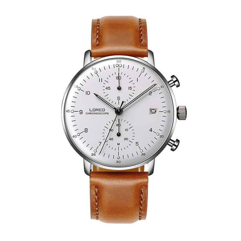 LOREO 6112 Germany Bauhaus watches newest 316L stainless steel chronograph fashion elegant quartz watch michael siebenbrodt bauhaus